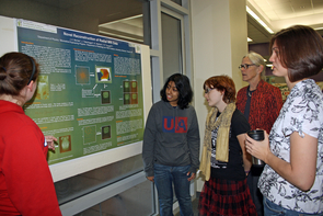 The UA's Undergraduate Biology Research Program connects students with facutly mentors, enabling undergraduates to engage in original research in a range of disciplines. Photographed left to right are Elizabeth DeHaven, Shemonti Hasan, Alex Ettling, Carol Bender and Susan Hester. (Photo credit: Beatriz Verdugo/UANews)