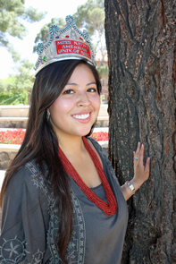 Carol Seanez, a UA Honors College student who is studying physiology and public health, is among 80 students across the nation and three at UA to be named 2012 Udall Scholars. Seanez credited the UA's Office of Early Academic Outreach in helping her transition into UA. Also, she was crowned UA's Miss Native America during a pageant held in April. (Photo credit: Beatriz Verdugo/UANews)
