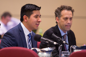 Issac Ortega (left), president of the Associated Students of the University of Arizona, and Zachary Brooks, president of the UA Graduate and Professional Student Council, speak during the Arizona Board of Regents meeting. (Photo: Bob Demers/UANews)