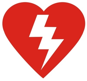 An automated external defibrillator, or AED, is recognizable because it bears some version of this symbol of a heart with a lightning bolt.