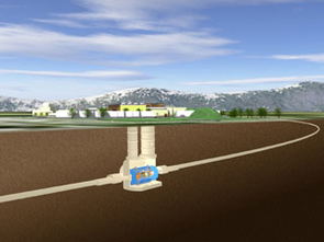 This artist's graphic shows the underground ATLAS detector along the 17-mile subsurface tunnel, the Large Hadron Collider at the Swiss-Franco border. Protons will smash into each other with unprecedented impact speeds.