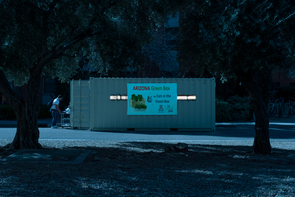 A shipping container in the heart of campus serves as the home of the Arizona Green Box, Joel Cuello's vertical farm laboratory at the UA. The UA Green Fund and Cats in the Green Box sponsor the facility, which is one of two vertical farming operations at the UA. (Photo illustration by Bob Demers/UA News)
