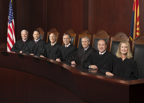 The Arizona Supreme Court, made up of Justice Robert Brutinel, Justice John R. Lopez IV, Vice Chief Justice John Pelander, Chief Justice Scott Bales, Justice Andrew Gould, Justice Clint Bolick and Justice Ann A. Scott Timmer, considered an amicus brief written and filed by UA faculty and students. (Photo: Arizona Supreme Court)