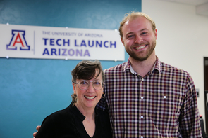 Amy Phillips, Tech Launch Arizona licensing manager for the College of Optical Sciences, with Urbix CEO Adam Small (Photo: Paul Tumarkin/Tech Launch Arizona)