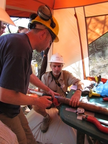 Anders Noren (University of Minnesota), and John Kingston (University of Michigan) at the drilling site. (Photo courtesy of the Hominin Sites and Paleolakes Drilling Project)