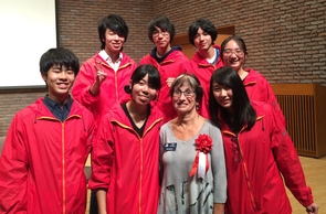 UA education professor Sheri Bauman (front row, third from left) has presented internationally on the topic of cyberbullying and had the idea for an international exchange project with Japan.