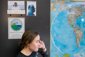 Becki Beadling, a graduate student in geosciences, has gone to the ends of the Earth for science in her work with Joellen Russell. (Photo: Bob Demers/UANews)