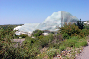 The exterior of the Biosphere 2 facility in Oracle, Ariz.