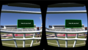 """After the user is """"tackled,"""" the screen becomes blurry and replicates the symptoms of a concussion."""