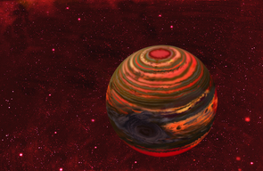 An artist's conception of 2MASS-2139, one of the six brown dwarfs monitored over the course of a year with the Spitzer and Hubble space telescopes in the Extrasolar Storms program. Astronomers believe that a massive storm several times the size of Jupiter's Great Red Spot swirls in the atmosphere, rotating around with the brown dwarf every 7.7 hours. The brightening and dimming of the dwarf's light as it rotates gives away the storm's presence. (Image: Jon Lomberg, University of Toronto)