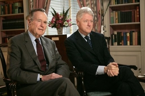 Presidents George H.W. Bush (left) and Bill Clinton (right)