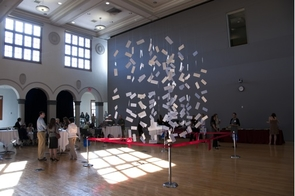 "Twenty-four match envelopes were among those dangled in a ""cloud sculpture"" in the Virginia G. Piper Auditorium at the College of Medicine–Phoenix.