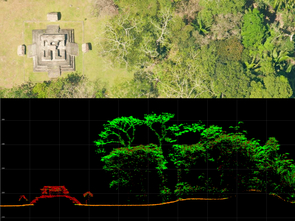 At the top is an aerial image of a reconstructed temple at Ceibal. At the bottom is the same area, mapped by thousands of individual laser points. (Image courtesy of Takeshi Inomata)