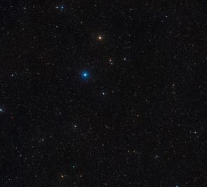 This wide-field image shows a piece of the constellation of Centaurus (The Centaur) centered on the position of the triple star HD 131399. It was created from images from the Digitized Sky Survey 2. HD 131399 itself appears as a star of moderate brightness exactly at the center of the picture. (Credit: ESO/Digitized Sky Survey 2)