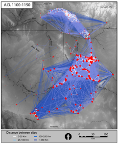 Network plot of Chaco World, A.D. 1100-1150, linking settlements and public architecture in the northern Southwest affiliated with Chaco Canyon (prepared by Matthew Peeples)