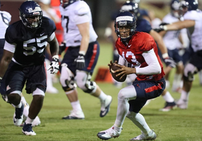 The UA football team has been one of the Pac-12 Conference's most explosive offensive teams in recent years, and the pieces are in place for another winning season. (Photo: Chris Hook/Arizona Athletics)