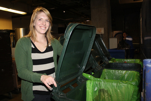 Compost Cats is a student-run organization started in early 2011 by founders Rachel Maxwell (pictured above), Polly Juang and Alex Harris. (Photo credit: Beatriz Verdugo/UANews)