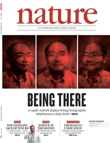 (Click to enlarge) The journal Nature featuring the UA holographic presence report on the cover. Parallax, or the ability to view the image from different perspectives, is one of the hallmarks of the new technology. (Image courtesy of Peyghambarian/Nature)