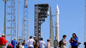 Members of the media covering Thursday's launch received a closer look at the rocket after its rollout Wednesday. (Photo: Bob Demers/UANews)