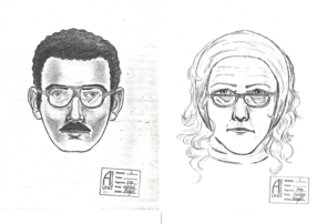 A Dec. 6, 1985, edition of the Arizona Daily Star included this sketch of the suspects. They were described as a woman in her mid-50s with shoulder-length reddish-blond hair, wearing tan bell-bottom slacks, a scarf on her head and a red coat, and a man with olive-colored skin, wearing a blue coat. Both had thick-framed glasses.