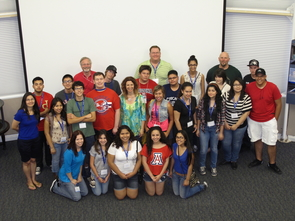 Jane Poynter (center second row, wearing a blue-and-green blouse), one of the original Biospherians, was one of the key speakers during GenCyber hosted by the UA in 2014. (Photo courtesy of William T. Neumannn)