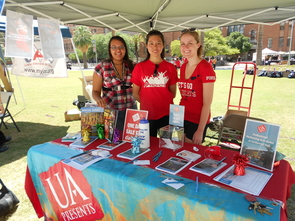 Cynthia Haley, Vivian Hsu and Kailey Hart (left to right) are members of Student Promoters, the team that helped UApresents sell more than $32,000 worth of tickets during the one-day campus sale held at the start of the semester. (Photo credit: Darsen Campbell)