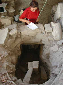 Hasaki measures a kiln on the Greek island of Paros while overseas with UA Study Abroad's Arizona in the Aegean program. (Photo courtesy of Eleni Hasaki)