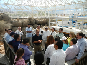 The visitors toured the UA's Biosphere 2 during their stay.