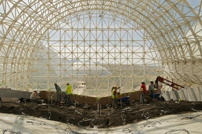 The Landscape Evolution Observatory will enable scientists to better understand how water moves through different soil types and how changing climate conditions will impact the atmosphere and water resources in the future. (Photo by Paul M. Ingram, Biosphere 2 science writer)
