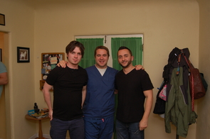 From left to right: Fourth-year UA medical students Jeff Tully and Christian Dameff and video producer Adolpho Navarro.