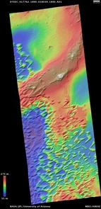(Click image to enlarge) Digital Terrain Model of the Nili Patera dune field on Mars. Elevations range from as low as 180 feet (blue) to 900 feet (brown). (Photo: HiRISE)