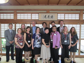 Dale LaFleur (second from left) poses with leaders of Ritsumeikan University and representatives from U.S. universities in Kyoto, Japan.