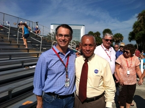 Dante Lauretta with NASA chief Charles F. Bolden Jr. in November 2013 at the launch of the MAVEN mission in Cape Canaveral, Florida. Bolden will be the featured speaker on Friday for the UA's Commencement. (Photo courtesy of Dante Lauretta)