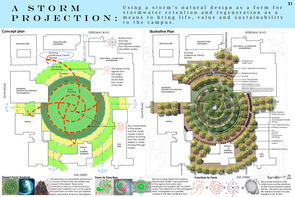 A design board illustrates the students' proposal to convert a campus parking lot into an eco-friendly common area.