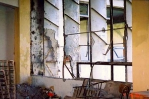 The Polytechnical University of Kabul's library was the target of several attacks, as shown in this 2002 image. (Photo courtesy of Atifa Rawan)