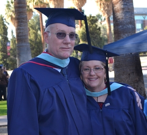 Brenda and Carl Dicksason both earned their undergraduate degrees in their 50s in unrelated fields and, ultimately, decided to pursue their master's degrees at the same time. They are in the first cohort of the UA's MASTER-IP program and while both had some experience in classroom teaching, through the program they now have more expertise as science teachers.