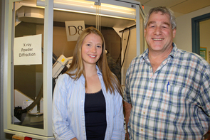 Bob Downs and graduate student Shaunna Morrison in the lab.