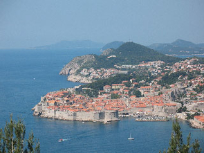 Dubrovnik, a walled city on the southern Adriatic Sea, is a UNESCO-designated World Heritage site. The Dalmatian Islands, some of which are visible in the background, represent a growing fold-and-thrust belt that is rising from the Adriatic Sea. (Richard A. Bennett)