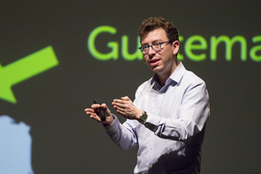 "Luis von Ahn, explaining why Duolingo was created to be like a game: ""The hardest thing about learning a language by yourself is to keep yourself motivated."" (Photo: Bob Demers/UANews)"