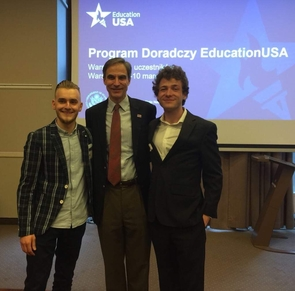 Dylan Hutchison (right) with the U.S. ambassador to Poland, Paul W. Jones (center), and a fellow member of the EducationUSA program