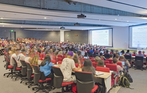 ENR2 has an open-concept floor plan and houses offices, research space, seminar rooms and a 575-seat, high-tech undergraduate auditorium with a permanently incorporated wireless assisted listening system for hearing aids. (Photo: Liam Frederick)