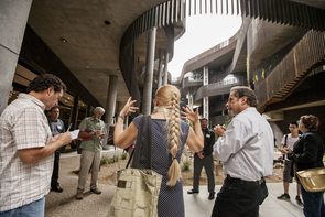 May Carr, senior architect with the Planning, Design & Construction department at the UA, leads the ENR2 media tour. (Photo: John de Dios/UANews)