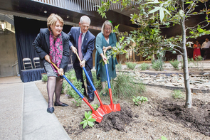 UA President Ann Weaver Hart, Provost Andrew Comrie and Institute of the Environment co-director Diana Liverman participate in the ceremonial tree planting. (Photo: John de Dios/UANews)