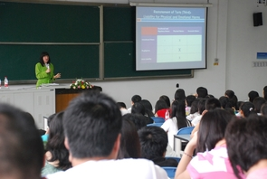 Ellen Bublick spoke to college students while in China. Previously, she has addressed audiences including the National Institute of Justice, the Pennsylvania House of Representatives and the National Sexual Assault Law Institute. (Photo courtesy of Ellen Bublick)