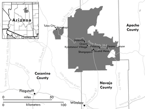 The lands of the Hopi Reservation, indicated in gray. (Figure courtesy of Jeremy Weiss/UA)
