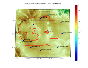 The study region is shown with the periods of record for National Weather Service COOP network stations indicating the lack of high-quality climate data available on the Hopi reservation (indicated by the red polygon between 111° and 110°W longitude).