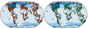 The world's vegetation has changed since the last ice age. The map on the left shows the changes in plant species and the map on the right shows changes in structure such as tundra becoming forest. The darker the squares the greater the change. (Image: Connor Nolan)