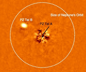 (Click to enlarge) The sun-like star, PZ Tel A and its brown dwarf companion, PZ Tel B. The vast majority of light from PZ Tel A has been removed from this image using specialized image analysis techniques. For size comparison, the size of Neptune's orbit is shown; PZ Tel B is one of few brown dwarfs imaged at a distance closer than 30 Astronomical Units from its parent star. It travels around its star at a closer distance than Uranus revolves around our Sun. (Image provided by Beth Biller and the Gemini NICI Planet-Finding Campaign)