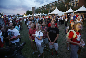 A crowd of onlookers enjoy a fireworks display during Arizona Now's campaign kickoff event Friday evening on the UA Mall. Photo: Mamta Popat
