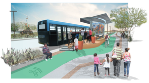"""""""Livable Streets for Vibrant Communities"""" recommends upgrades to bus rapid transit along First Avenue to encourage mobility and incorporate creative infrastructure with multimodal forms of transportation."""